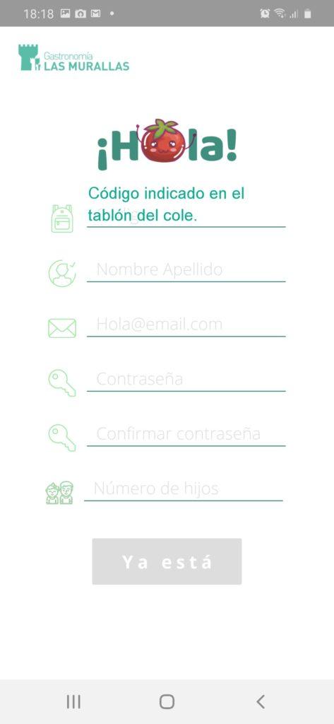 Imagen del formulario de alta de usuario de la APP de Las Murallas.