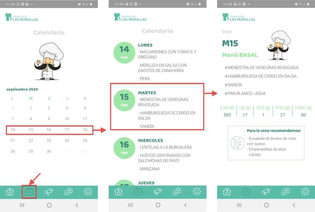 Imagen de las pantallas de la opción calendario de la APP de Las Murallas.