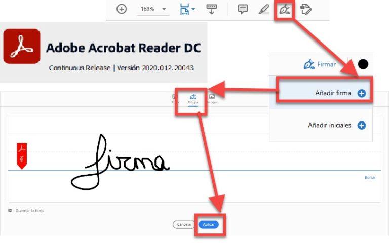 Imagen de las opciones de Acrobat para firmar.