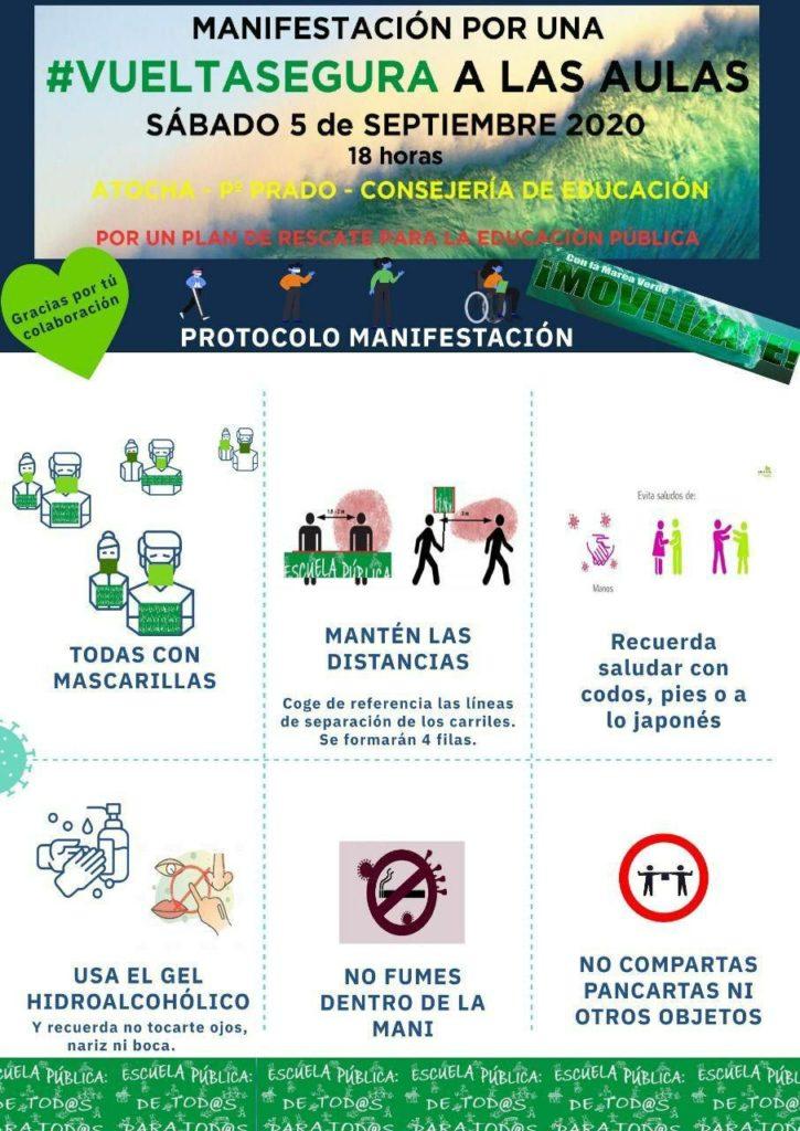 Cartel de la manifestación del 5 de septiembre por una vuelta segura a las aulas.